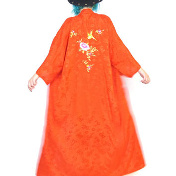Vintage Lucky Red Embroidered Kimono Chinese Robe Festival Boho Slouchy Long Jacket Floral Gypsy Wide Sleeves (M/L/XL)
