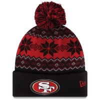 Mens San Francisco 49ers New Era Black/Scarlet Snowburst Knit Beanie