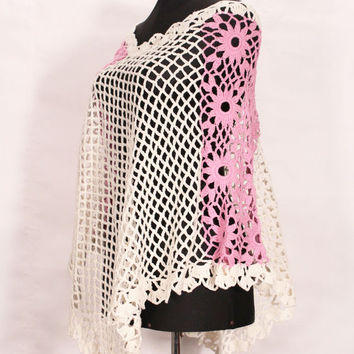 Hand made Crochet poncho /  top for women in different colors / vest / sweater / Knit Poncho