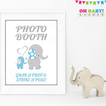 Photo Booth Sign, Photo Booth Props Sign Printable Baby Shower Sign Blue and Gray Elephant Decorations Boy Shower Instant Download ELLBG