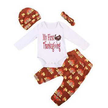 Thanksgiving 4PCS Set Newborn Baby Boys Girls Long Romper Tops+ Pants Hat Outfit Clothes Sets