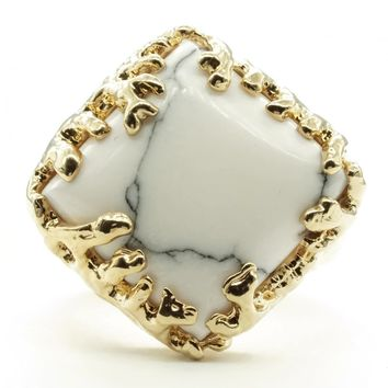 Coral Wrapped Offset Square Simulated Howlite Stone Adjustable Fashion Ring in Gold Tone