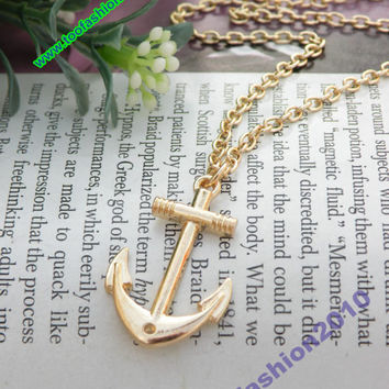 Pretty retro gold small ship anchor shape necklace pendant vintage style