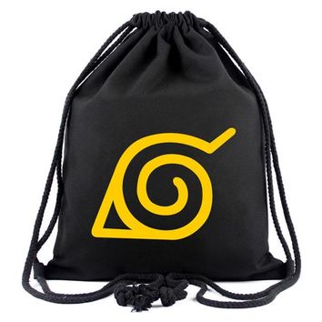Anime Backpack School kawaii cute Naruto Canvas Bag Japanese Animation Drawstring Backpack for Students Boys Girls Cloth Bags Portable Organizer Backpacks AT_60_4