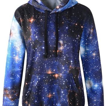 Bettydom Galaxy Patterns Hoodies Print Sweaters Sweatshirts (Freesize,Blue)