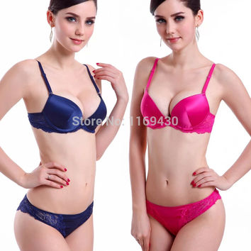 Free Shipping sexy bra brief sets bra sets silky underwear lace satin push up bras set women beauty lingerie brassiere japanese