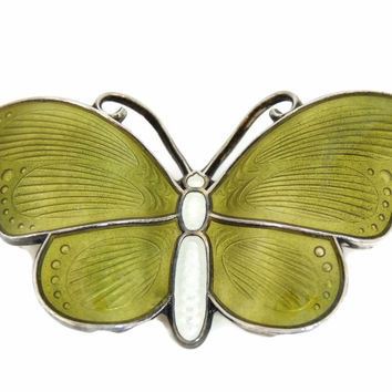 Ivar Holth Sterling Enamel Butterfly Brooch Norway Vintage