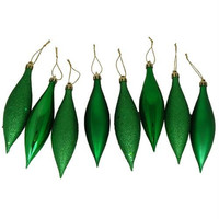 8 Christmas Ornaments - Green Finial Drop