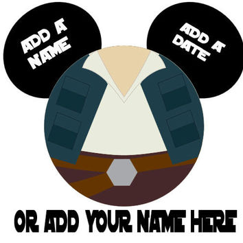 Star Wars Hans Solo Personalized w/ Name/Date Mickey Mouse Head Disney Vacation Birthday Printable Iron On Transfer DIY Clipart