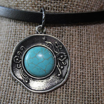 Boho, Stone Necklace, Turquoise Necklace, Native American, Silver Turquoise, Vintage, Tribal, Southwest, Leather Choker, Tibetan Turquoise