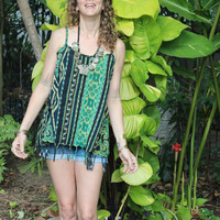 Boho Womens Cami Top Strappy Tank Top Summer Camisole Swing Top Green Handwoven Ikat