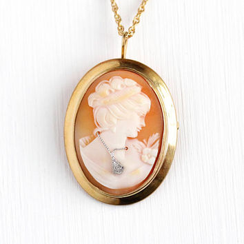 Vintage Cameo Necklace - 12k Rosy Yellow Gold Filled Genuine Diamond & Carved Shell Habille Lady Pendant - Classic Oval Brooch Pin Jewelry