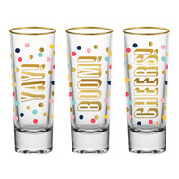 SLANT COLLECTIONS 2OZ SHOT GLASSES YAY BOOM CHEERS (SET OF 3)
