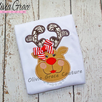 Girls Reindeer Shirt, Girls Christmas Shirt, Embroidered Applique Baby Bodysuit or Girls Shirt