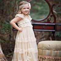 Vintage Cream Chiffon & Lace Long Lace Layer Dress - Available up to size 10/12!