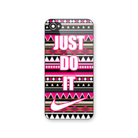 New Nike Just Do It Pink Aztec Pattern Print On Hard Plastic Case For iPhone 6s