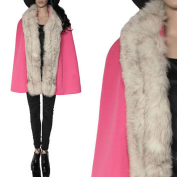 60's Lilli Ann San Fraincisco Pink and Fur Cape Preppy Mod Winter Outerwear Clothing Womens One Size Fits Most