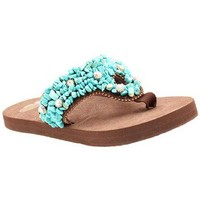 Justin Lily Flip Flops - Brown With Turquoise And Rhinestones