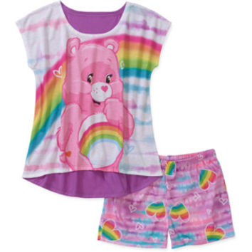 Walmart: Care Bears Girls' 2 Piece Short Sleeve Tee and Short Pajama Set