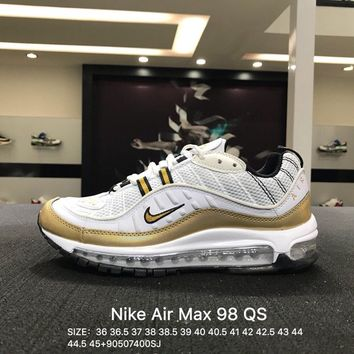 Virgil Abloh x Nike Air Max 98 White Gold Sports Running Shoes Sneaker