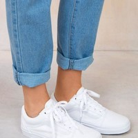 Vans Old Skool Classic Fashion Women Men Pure White Flat Shoe Sneaker I