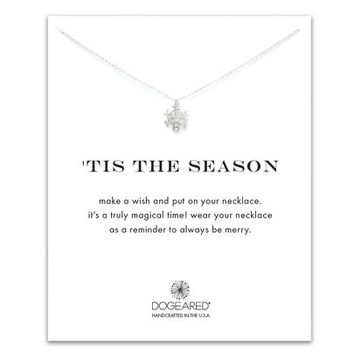 tis the season snowflake necklace, sterling silver
