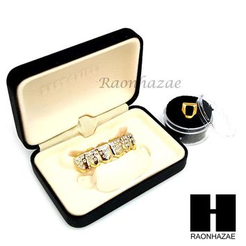 CUSTOM 14K GOLD PLATED ICED OUT GRILLZ CAP BOTTOM FANGS & SINGLE CAP TEETH A020B