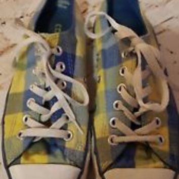WOMEN'S CONVERSE blue yellow check SZ WOMENS 7, MENS 5 sneakers