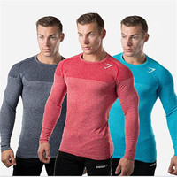Mens Long Sleeve T shirt Bodybuilding Fitness Gyms Clothing 2017 New Mens Gyms Compression Sporting Tops