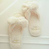 Fleece Slippers With Bow Decoration