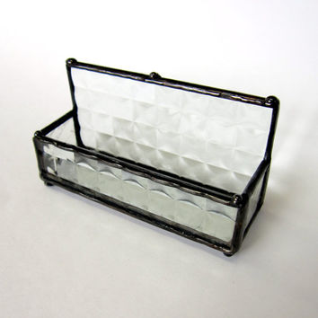 Textured Clear Handmade Stained Glass Business Card Holder- One -of-a-Kind Glass Box, Business Card Display