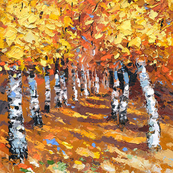 In the shadow of autumn birches - Palette knife oil painting on canvas by Dmitry Spiros. Size: 24x32in