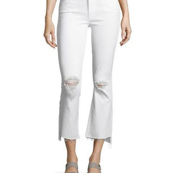 Mother Denim Insider Cropp Step Fray Distressed Jeans, White