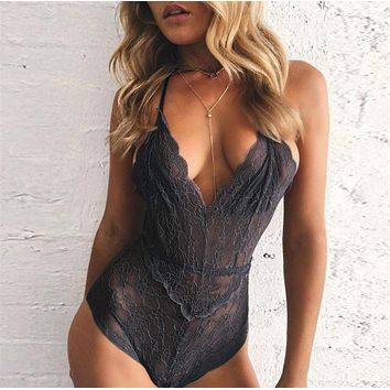 Hot sale fashion sexy lace hollow show thin V neck underwear one piece