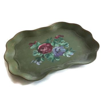 Vintage Tole Tray Hand Painted Metal Serving Tray with a Floral Rose Design Nashco Toleware Red Lavender Green Cottage Chic