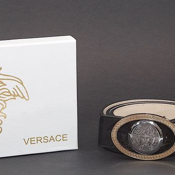 """New in Box VERSACE Silver & Gold Reversible Buckle Black Leather Belt Sz 35""""-39"""""""