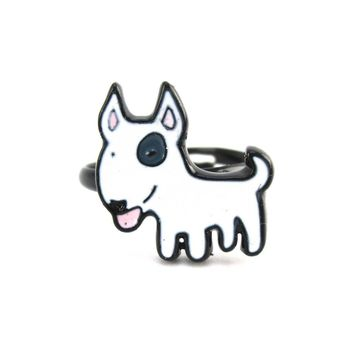 Bull Terrier Shaped Enamel Adjustable Ring for Dog Lovers