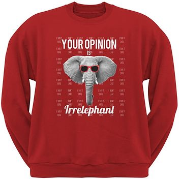 Paws - Elephant Your Opinion is Irrelephant Red Adult Sweatshirt