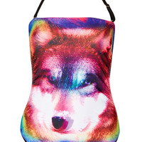 Multi Rainbow Wolf Swimsuit - Topshop USA