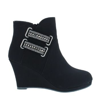 Jeweled 2-Strap Wedge Bootie (BLACK)
