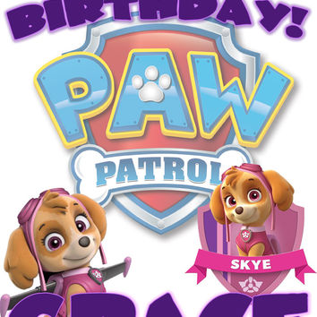 Personalized Custom Birthday T-shirt Paw Patrol Skye #2