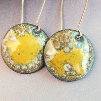 Gold and gray drop earrings, small yellow dangle earrings, 14k gold-filled boho chic enameled copper jewelry