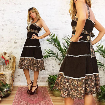 Vintage 1970s Brown CORDUROY Country Prairie Dress ||  Boho Hippie Folk Midi Dress || Size Small