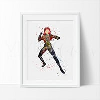 Black Widow Watercolor Art Print
