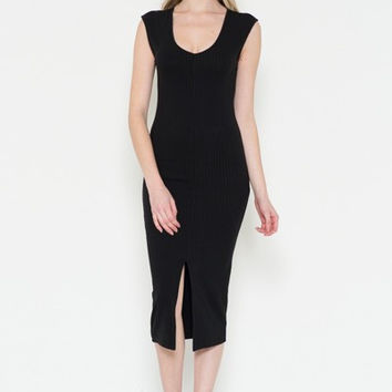 (ald) Sleeveless ribbed V-Neck midi dress -Black-
