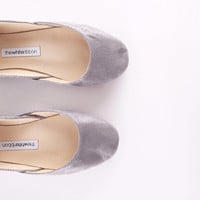 up-cycled print leather ballet flats. silvery grey s9