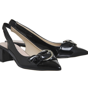 Office Monroe Point Block Buckle Slingbacks Black Patent - Mid Heels