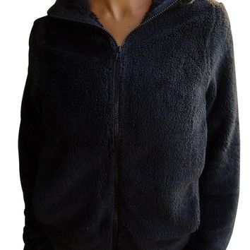Womens Black Fuzzy Zip up Fleece Jacket
