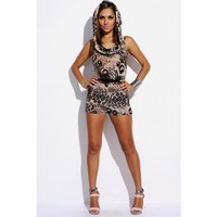 animal print draped cowl hood belted clubbing romper jumpsuit - Jumpsuits