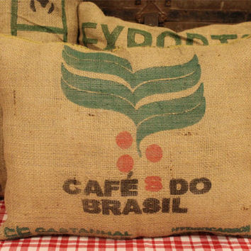 Burlap Feed Sack Pillow- Grain Sack- Cafes Do Brasil- Upcycled Coffee Sack- Home Decor- Decorative